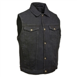 Men's Black Denim Motorcycle Vest: Biker Vests