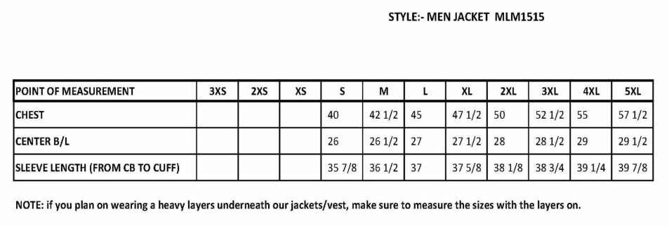 1515 brown leather jacket sizing