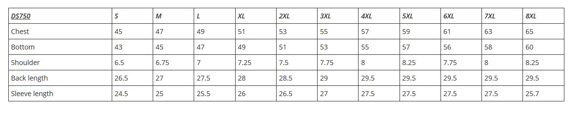 DS750 motorcycle jacket size guide