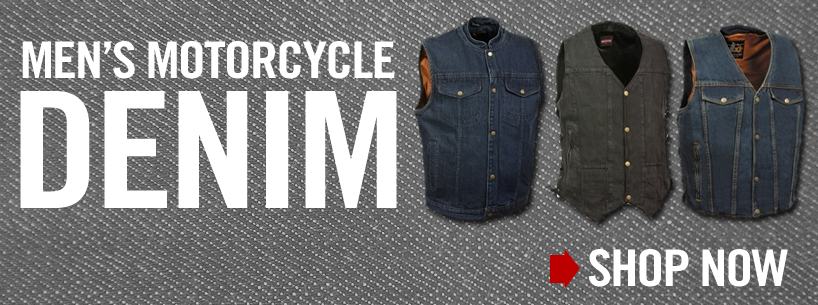 men's denim motorcycle vests