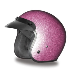 Pink Retro Glitter Ladies Motorcycle Helmet 3 4 Shell