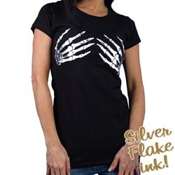 Women S Skeleton Hand On Boobs Black Biker T Shirt