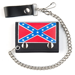 Confederate Flag Leather Wallet Rebel Discount Tri Fold W