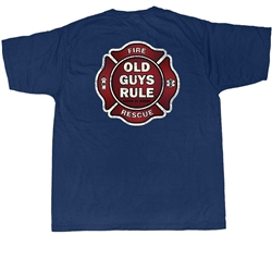 Old Guys Rule T Shirts Fire Fighter Badge Of Honor Design