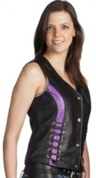 Women S Leather Motorcycle Vest Purple Stripes Leather