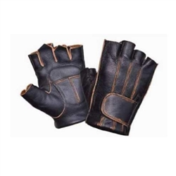 Distressed Brown Leather Fingerless Motorcycle Riding Gloves
