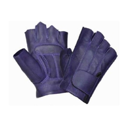Leather Purple Fingerless Motorcycle Gloves